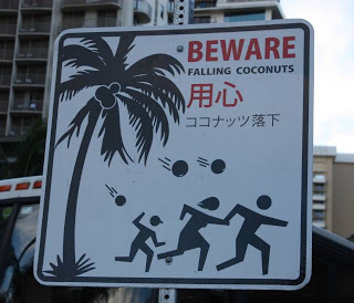 falling coconuts sign