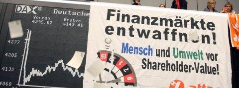 Attac-Aktion an Frankfurter Börse