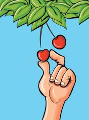 cartoon-hand-picking-cherry-24380737