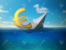 Sinking euro currency symbol with paper boat floating in ocean