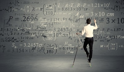 Man calculating from ladder